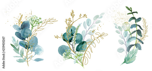 Wall mural Watercolor floral illustration set - green & gold leaf branches collection, for wedding stationary, greetings, wallpapers, fashion, background. Eucalyptus, olive, green leaves, etc.
