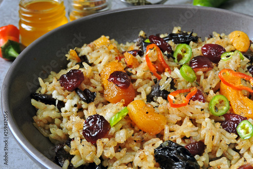 Spicy biryani rice  Vegan rice with dried fruits, spices and