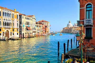 Fototapete - Beautiful view of the famous Grand Canal with Basilica Santa Maria della Salute, Venice Italy