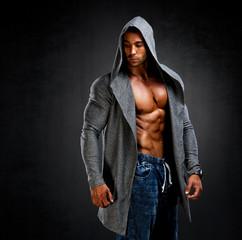 Athletic Men in Hooded Jacket