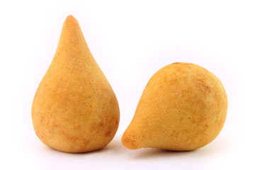 Coxinha, traditional Brazilian cuisine snacks stuffed with chicken, isolated on white background