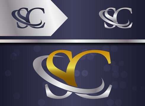 letter combination sc s c uppercase logo with gold and silver color for business name, corporate , slogan - vector