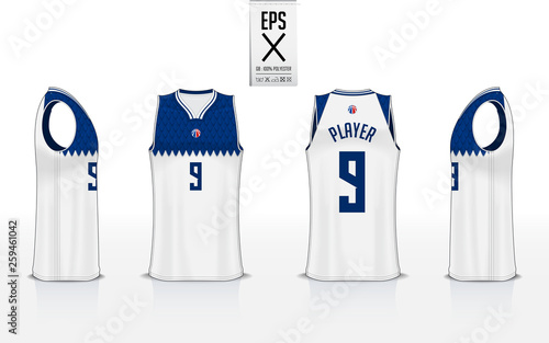 71b5fbc3c Basketball uniform mockup template design for basketball club. Tank top t-shirt  mockup for basketball jersey. Front view, back view and side view  basketball ...