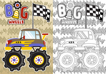 Monster truck, Vector cartoon illustration, coloring book or page