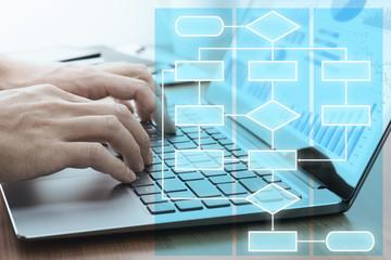 Business process management concept. Businessman using laptop preparing reports.Laptop and work flow chart.