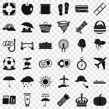 Bad weather icons set. Simple style of 36 bad weather vector icons for web for any design