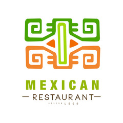 Mexican restaurant logo design, authentic traditional continental food label vector Illustration on a white background