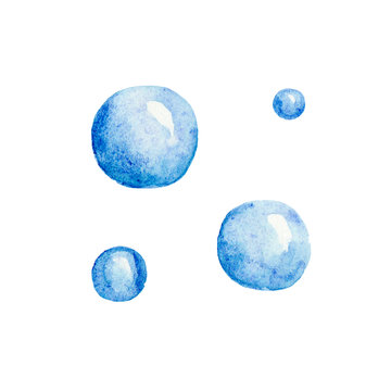 Hand drawn watercolor sea seaweed bubbles blue summer on white background