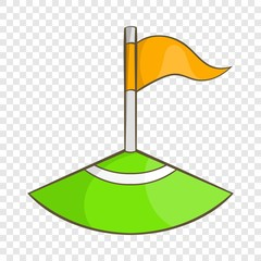 Corner flag on soccer field icon in cartoon style isolated on background for any web design