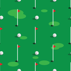 Golf course pattern background. Green grass and hole on golf field. Flags and balls on green golf course seamless pattern