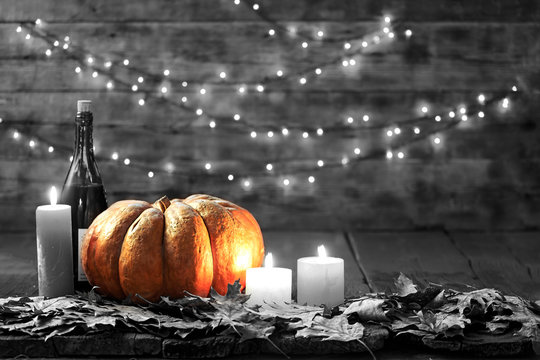 Thanksgiving, pumpkin, Thanksgiving Day, Halloween festival, Autumn festival, wine, candles, autumn leaves, garland, Copy space, holiday scenes, harvest, Thanksgiving, fall, November, autumn