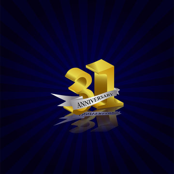 31 years anniversary Vector Template Design with golden color and silver ribbon isolated on blue sunburst background illustration for celebration event - Vector