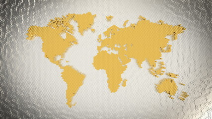 Fotobehang - World map of markets, gold and silver investment opportunities