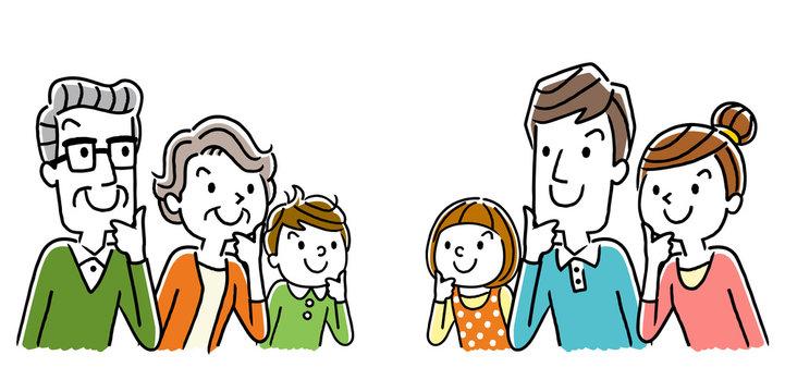 イラスト素材:考える家族