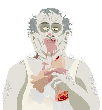Fat zombie enjoying Sunday lunch