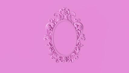 Pink Antique Ellipse Baroque Frame 3d illustration 3d render