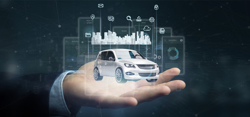 Businessman holding Dashboard smartcar interface with multimedia icon and city map on a background 3d rendering