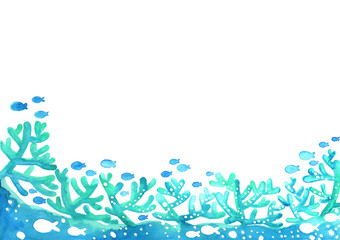 Adstract coral reef with school of fish under the sea watercolor hand painting background for decoration on summer events.