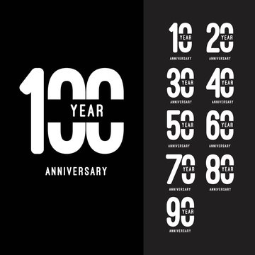 100 Year Anniversary Set Vector Template Design Illustration