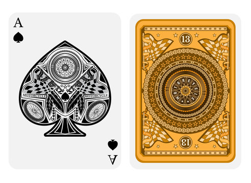Ace of spades in motorcycle style. Face with bike wheels, race flags inside spades form and back with motorcycle wheel and round pattern on golden suit. Vector card template