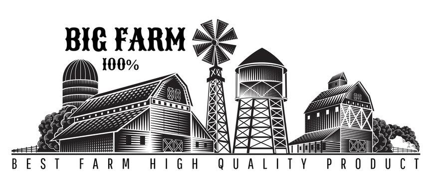 Farmer's windmill, barn and farm building retro style vintage label
