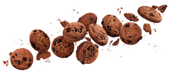 Falling broken chocolate chip cookies isolated on white background with clipping path