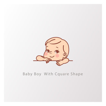 Little smiling kid with blank text element in hands. Template for logotype design. Kid with big letter. Cute little baby boy with square shape. Vector color illustration.