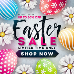 Easter Sale Illustration with Color Painted Egg and Spring Flower on White Background. Vector Holiday Design Template for Coupon, Banner, Voucher or Promotional Poster.