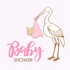 Cartoon stork with baby. Design template for greeting card, baby shower invitation, banner. Congratulations to the newborn. Vector illustration in flat style.