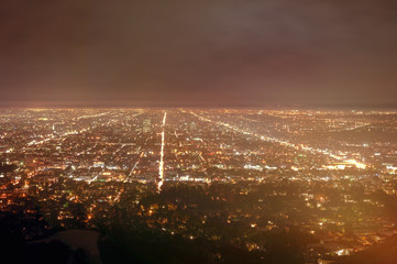 City lights at night view of Los Angeles