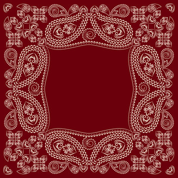 Bandana paisley design - red and white  ornament. Traditional ethnic  floral pattern. Vector print square.