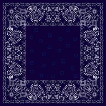 Bandana paisley design - blue and white  ornament. Traditional ethnic floral pattern. Vector print square.