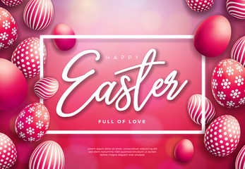 Vector Illustration of Happy Easter Holiday with Painted Egg on Shiny Red Background. International Celebration Design with Typography for Greeting Card, Party Invitation or Promo Banner.