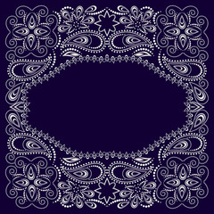 Bandana paisley design - blue and white  ornament. Traditional ornamental floral pattern. Vector print square.