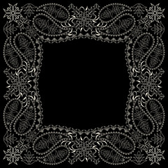 Bandana paisley design - black and white  ornament. Traditional ethnic floral pattern. Vector print square.
