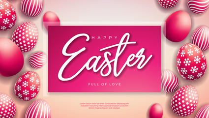 Vector Illustration of Happy Easter Holiday with Red Painted Egg on Light Background. International Celebration Design with Typography for Greeting Card, Party Invitation or Promo Banner.