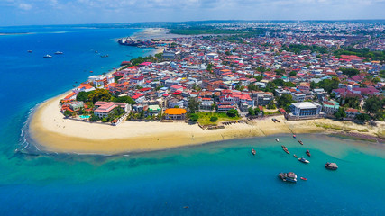 Photo sur Toile Zanzibar stone town zanzibar aerial view