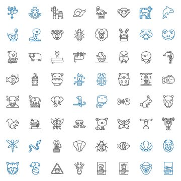 wildlife icons set