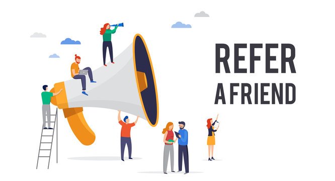 Refer a friend illustration. Big megaphone with a team work. Concept media for landing page, template, user interface UI, website