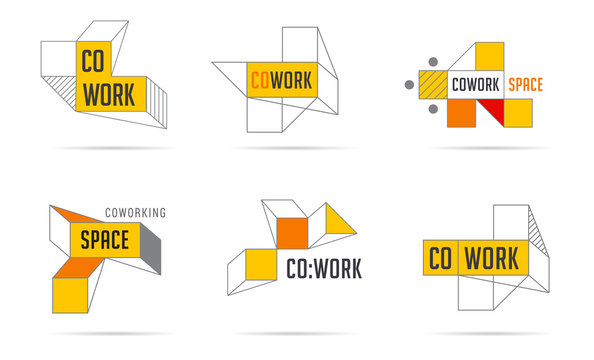 Coworking Space, networking zone logo and icons collection.