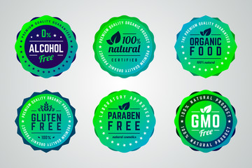 Set of round gradient vector badges. Alcohol free, organic product, 100 percents natural, premium quality, organic food, gluten, gmo, paraben free. Wall mural