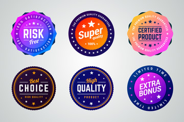 Set of colorful vector badges. Risk free, super quality, certified product, best choice, high quality and extra bonus badges.