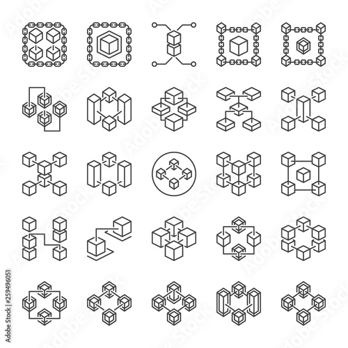 Set of Blockchain Technology abstract outline icons  Block