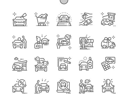 Car shop Well-crafted Pixel Perfect Vector Thin Line Icons 30 2x Grid for Web Graphics and Apps. Simple Minimal Pictogram