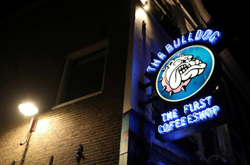 The logo of The Bulldog coffee shop is seen in the red district of Amsterdam