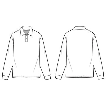 LONG SLEEVE POLO SHIRTS fashion flat sketch template