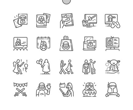 Star Wars Day Well-crafted Pixel Perfect Vector Thin Line Icons 30 2x Grid for Web Graphics and Apps. Simple Minimal Pictogram