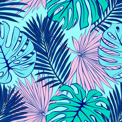 Seamless pattern of tropical leaves. Vector seamless pattern. Tropical illustration. Jungle foliage.
