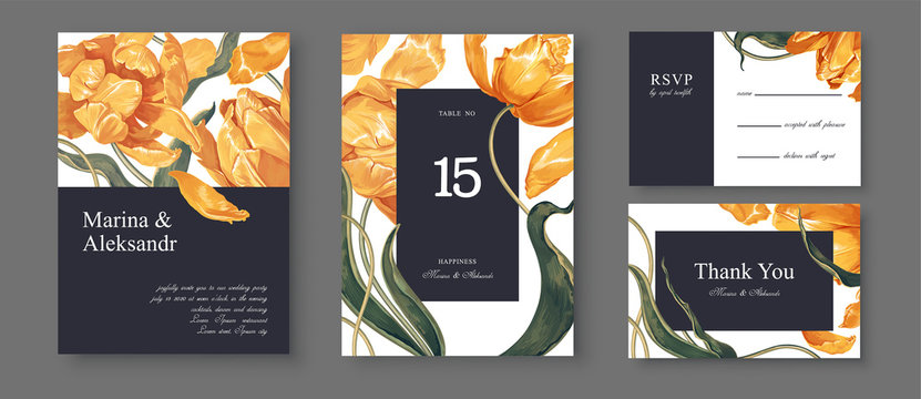 Botanical wedding invitation card. Template design with yellow tulips flowers and leaves. Modern, realistic style, hand drawn illustration. Collection of Save the Date and RSVP in vector EPS format.