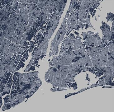 map of the New York City, NY, USA